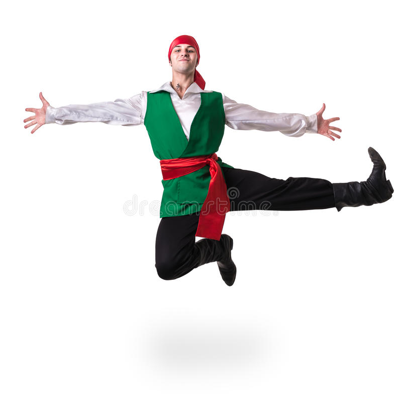 Dancing man wearing a pirate costume jumping, isolated on white in full length. Dancing man wearing a pirate costume jumping, isolated on white background in royalty free stock image