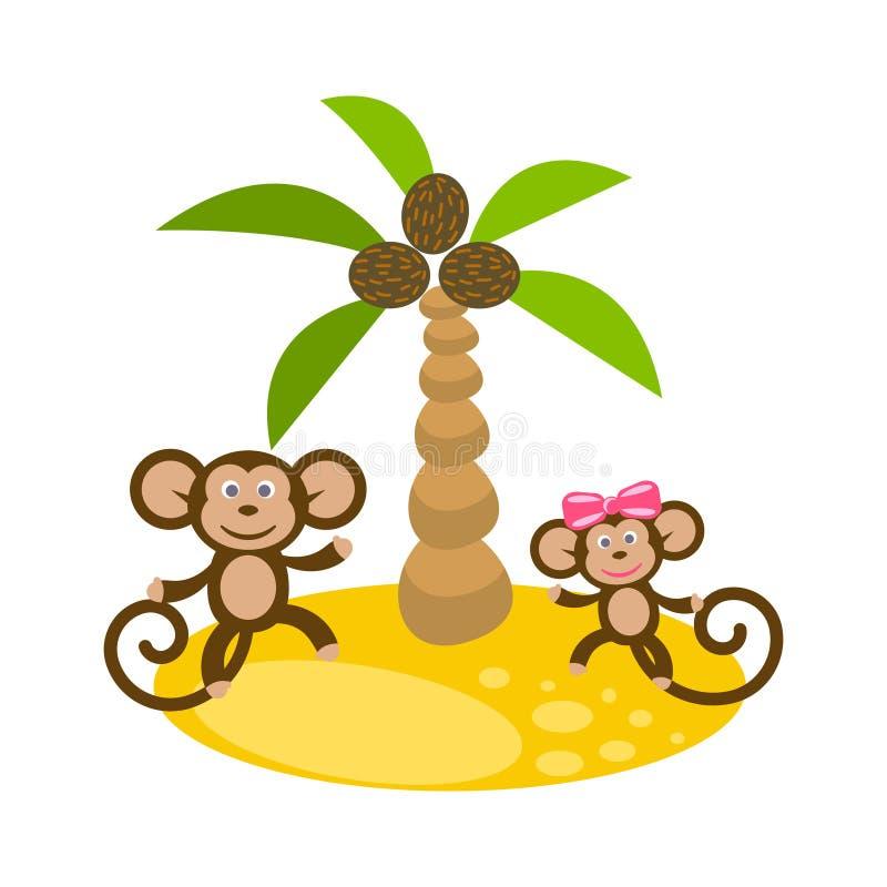 Dancing monkey couple near coconut palm tree clip art. stock illustration