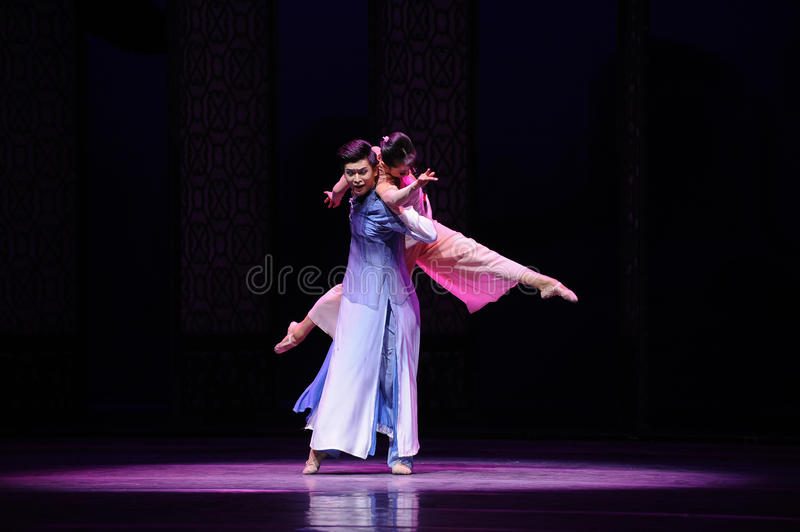 Dancing in the moonlight-The second act of dance drama-Shawan events of the past. Guangdong Shawan Town is the hometown of ballet music, the past focuses on the stock photo