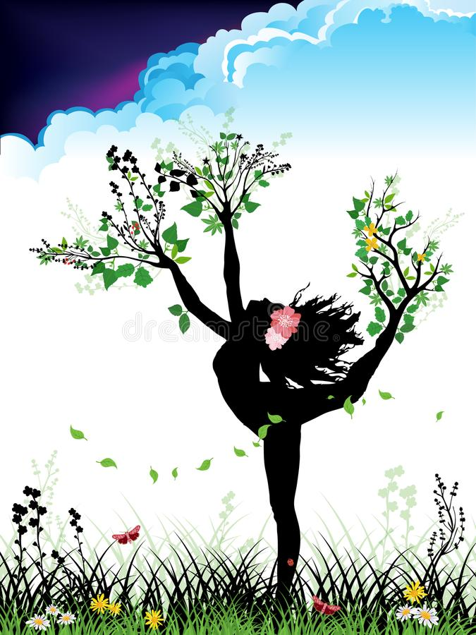 Dancing Mother Nature. Dancing woman silhouette with branches, leaves, flowers and cloudy sky