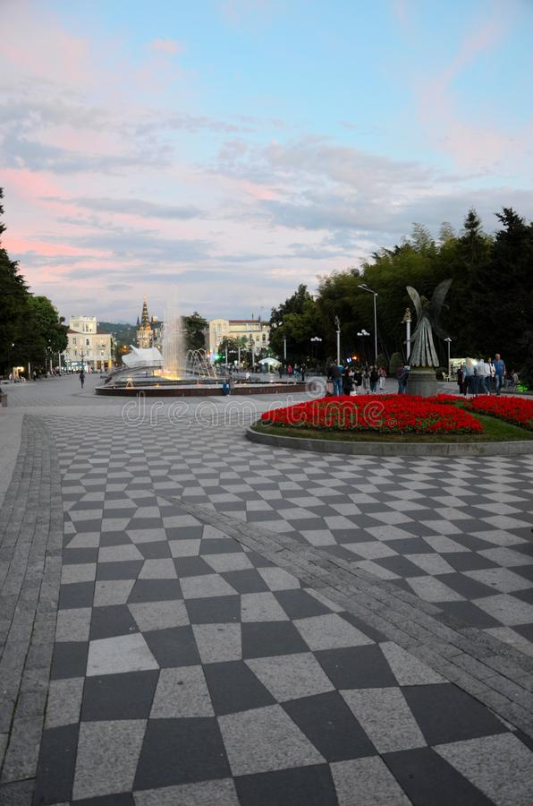 Dancing music and laser light musical water fountains New Boulevard Batumi Georgia royalty free stock photography