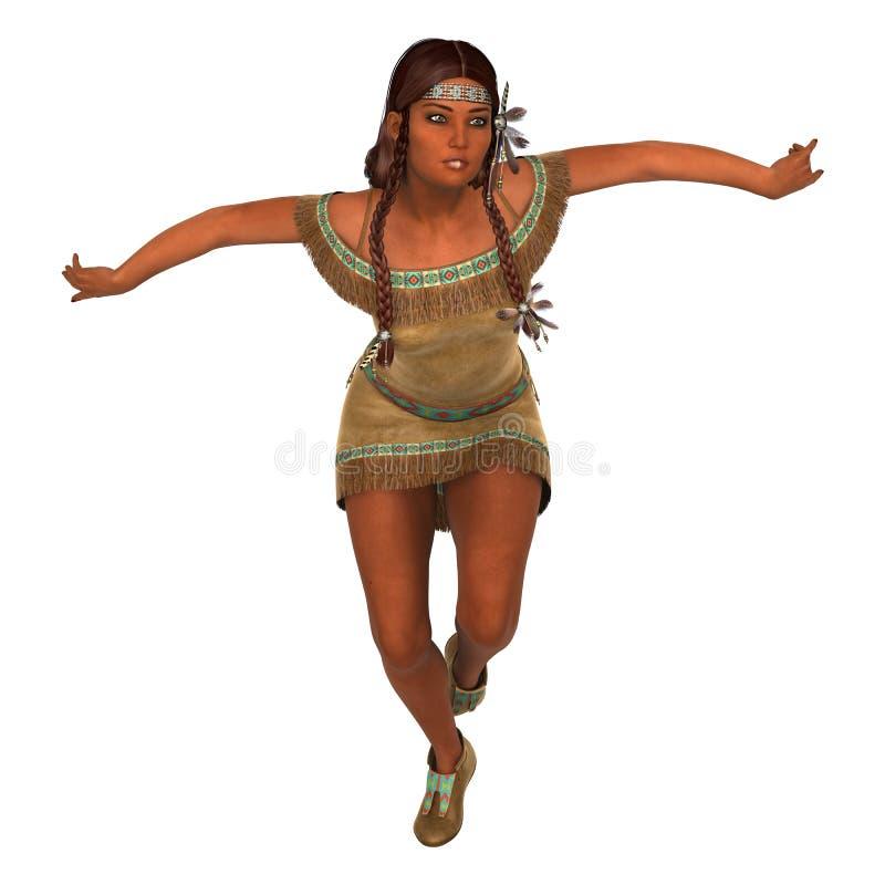 Dancing Native American Woman stock illustration