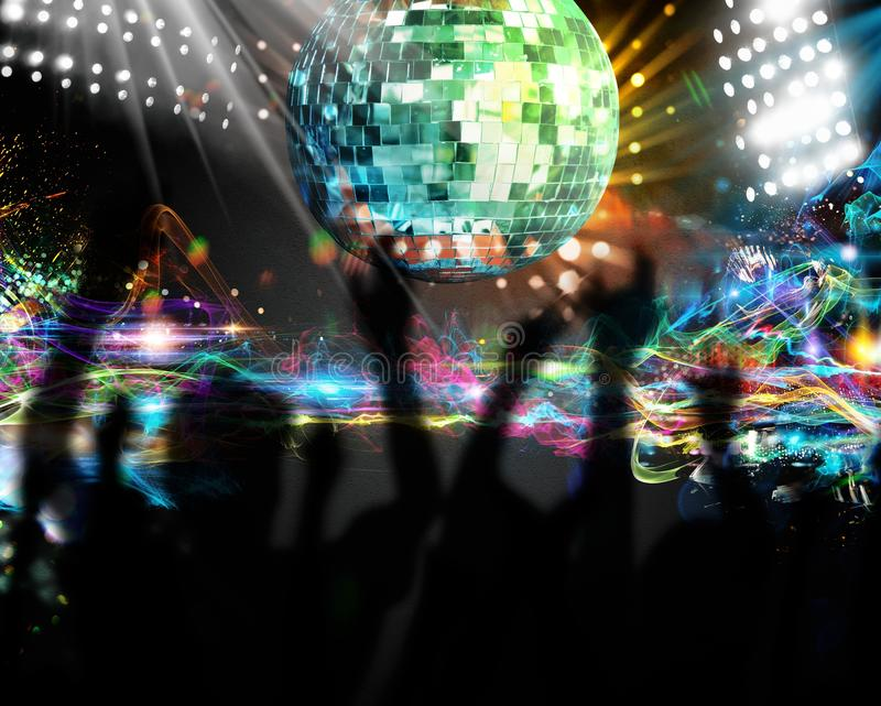 Dancing in nightclub. Silhouettes of many people dancing in nightclub royalty free stock images