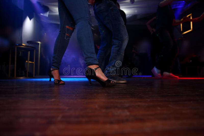 Sensual dance in the spotlight. Dancing is one of the most interesting forms of expressing your emotions and acquaintances stock photography