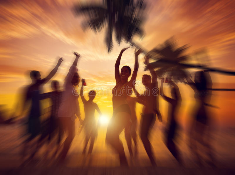 Dancing Party Enjoyment Happiness Celebration Outdoor Beach Concept.  stock photography