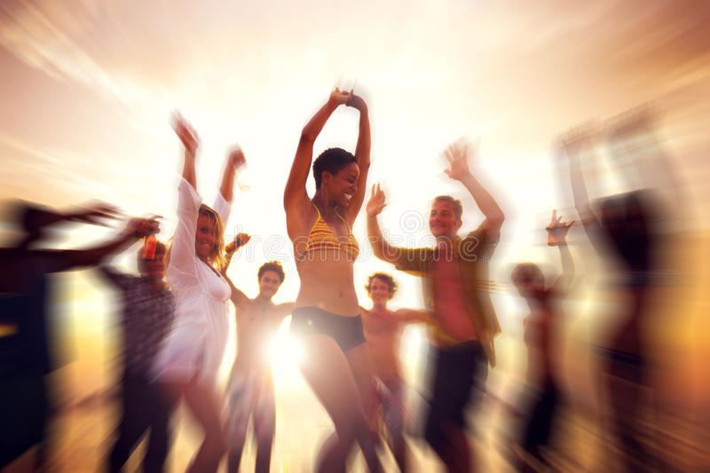 Dancing Party Enjoyment Happiness Celebration Outdoor Concept. Dancing Party Enjoyment Happiness Celebration Outdoor Beach Concept royalty free stock photos