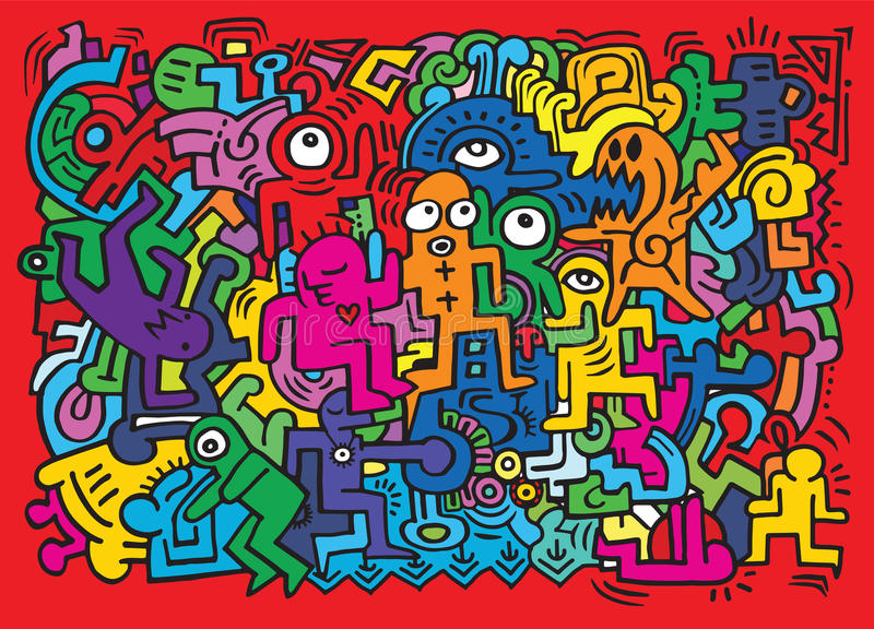 Dancing party pattern with doodled youngsters having fun stock illustration