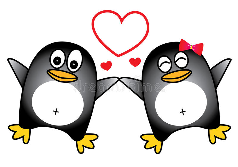 Dancing penguin couple vector illustration