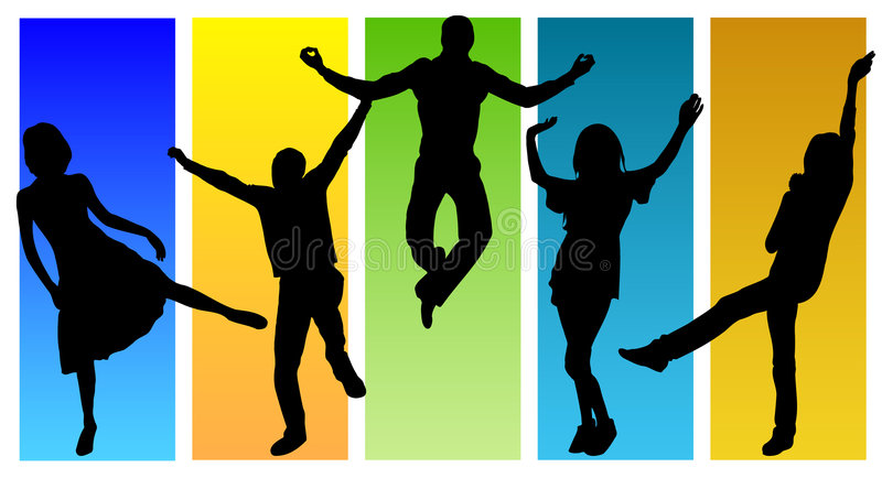 Dancing people stock illustration