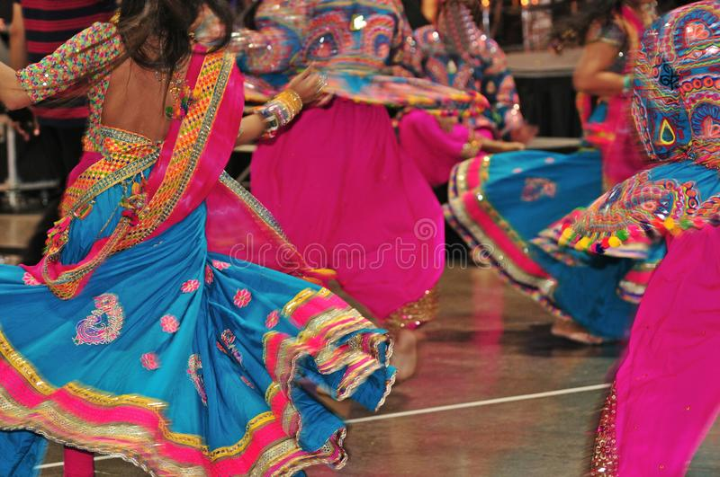 Dancing people in action, Abstract of colorful costume with motion effect. Navratri is a Hindu festival, dedicated to the worship of Goddess Durga and her nine stock images