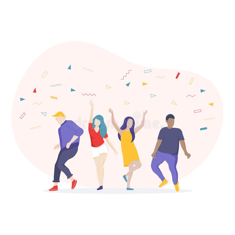 Dancing people cartoon character, Having fun a party. stock illustration