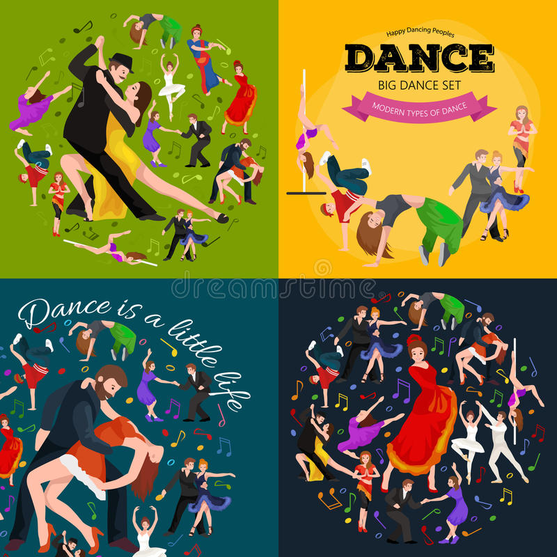 Dancing People, Dancer Bachata, Hiphop, Salsa, Indian, Ballet, Strip, Rock and Roll, Break, Flamenco, Tango. Contemporary, Belly Dance Pictogram Icon Dancing vector illustration