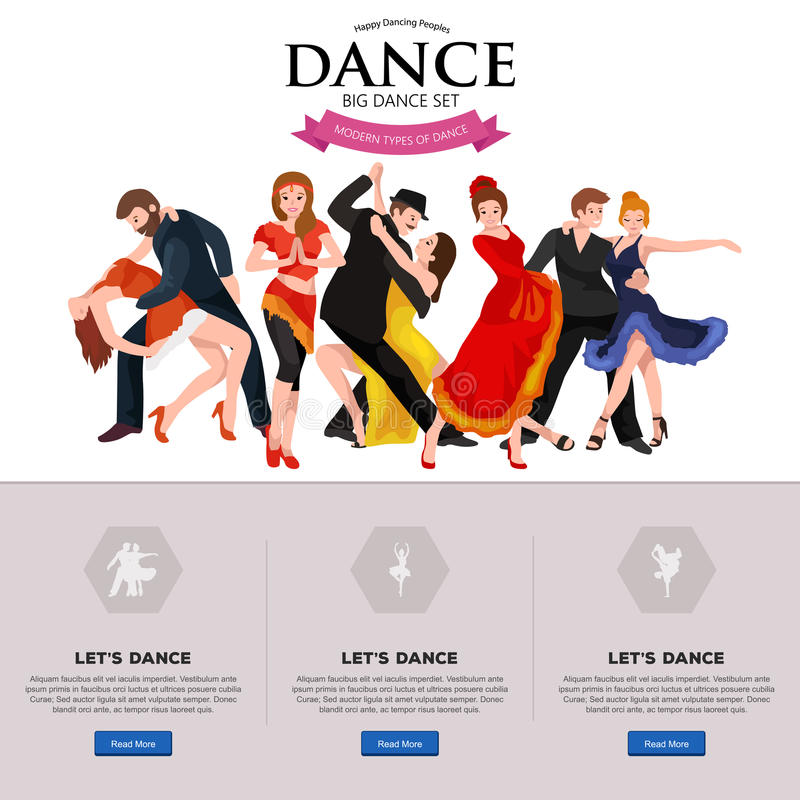 Dancing People. Dancer Bachata, Hiphop, Salsa, Indian, Ballet, Strip, Rock and Roll, Break, Flamenco, Tango, Contemporary, Belly Dance Pictogram Icon Dancing royalty free illustration