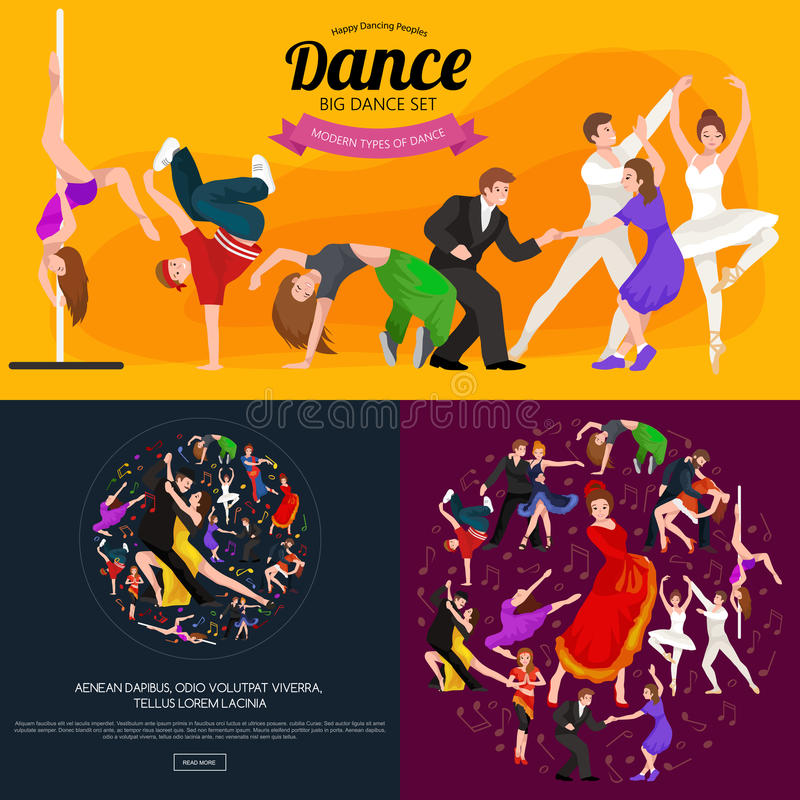 Dancing People. Dancer Bachata, Hiphop, Salsa, Indian, Ballet, Strip, Rock and Roll, Break, Flamenco, Tango, Contemporary, Belly Dance Pictogram Icon Dancing stock illustration