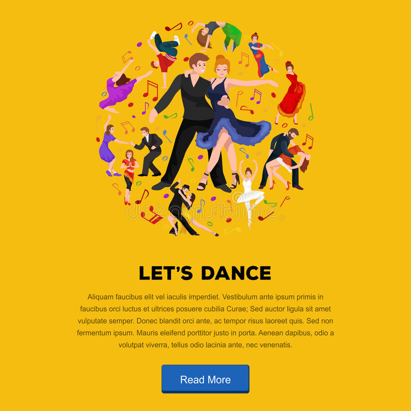 Dancing People. Dancer Bachata, Hiphop, Salsa, Indian, Ballet, Strip, Rock and Roll, Break, Flamenco, Tango, Contemporary, Belly Dance Pictogram Icon Dancing vector illustration