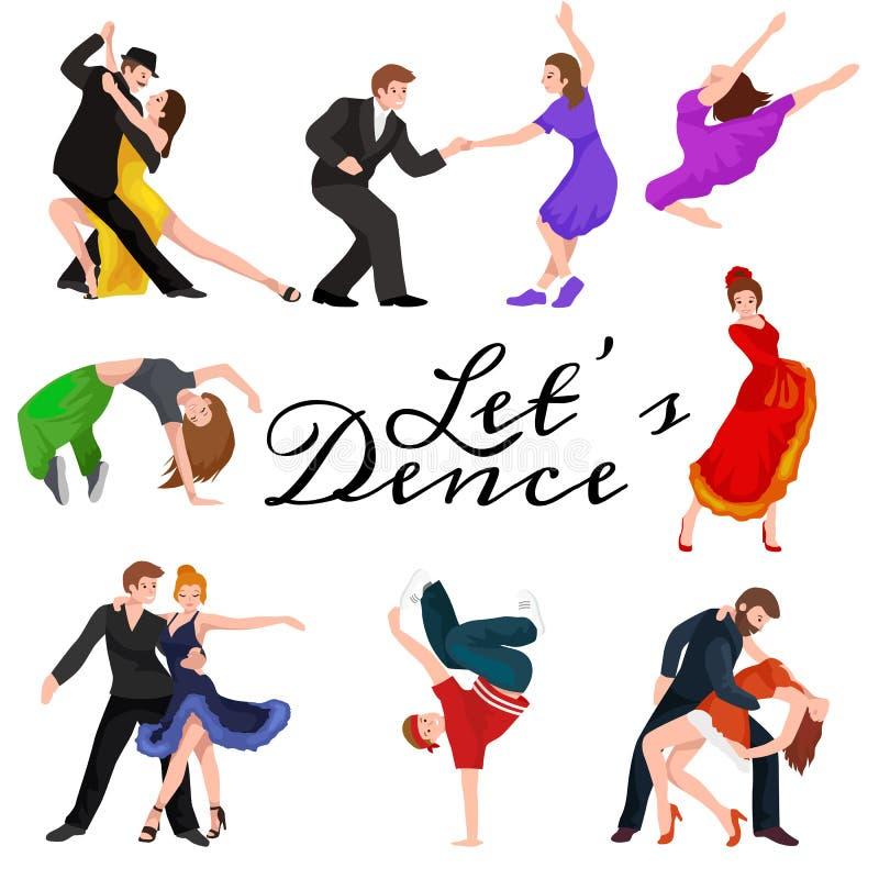 Dancing People, Dancer Bachata, Hiphop, Salsa, Indian, Ballet, Strip, Rock and Roll, Break, Flamenco, Tango vector illustration