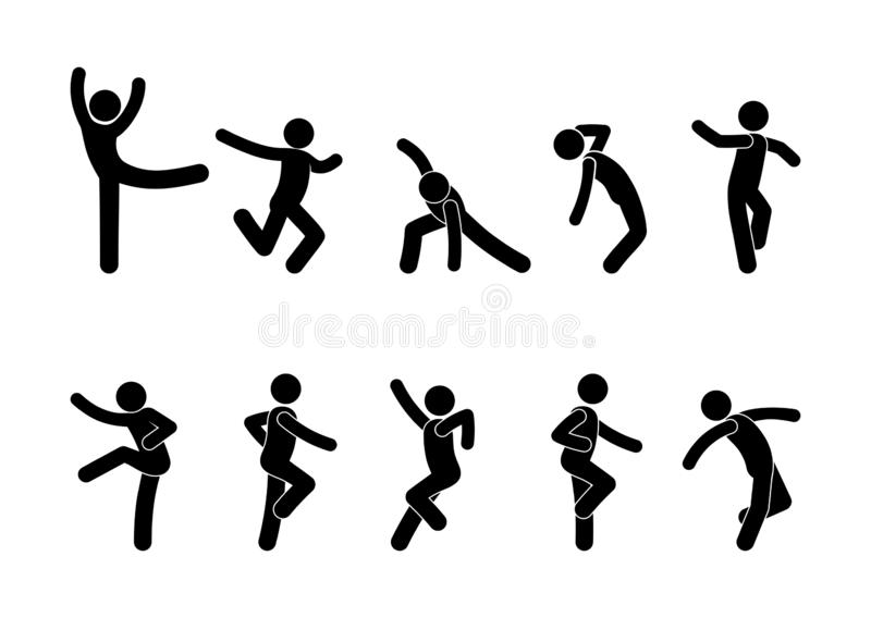 Dancing people in different poses, a set of stick figure people silhouettes, stickman icon. stock illustration