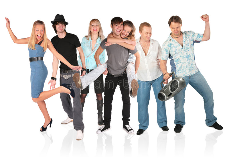 Dancing people group isolated on white stock image