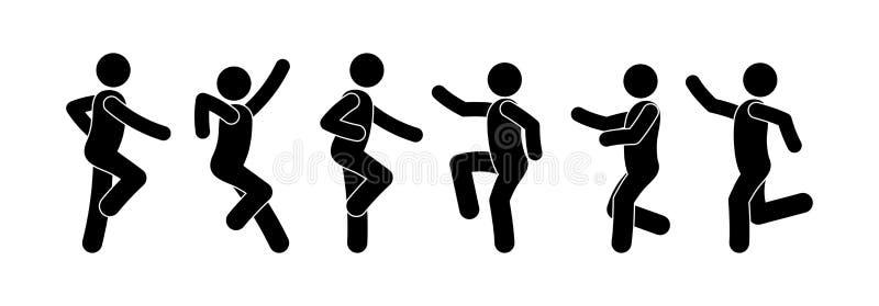 Dancing people icon, pictogram dancers, stick figure man. Dancing people icon, pictogram dancers, isolated silhouettes, stick figure man, people have fun vector illustration