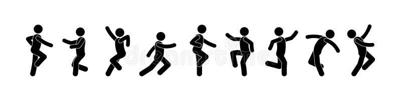 Dancing people icon, pictogram dancers, stick figure man. Dancing people icon, pictogram dancers, isolated silhouettes, stick figure man, people have fun stock illustration