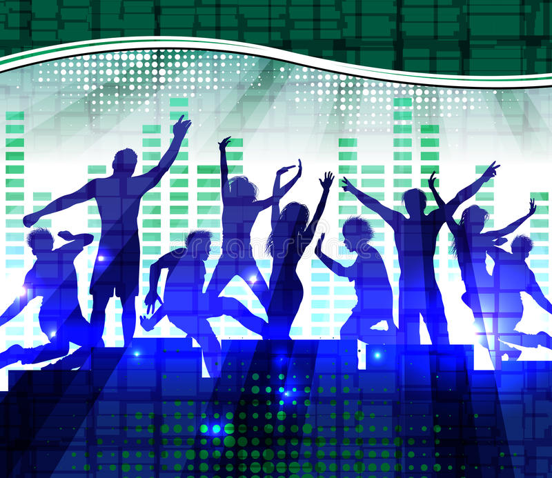 Dancing people, music background. Dancing people, music abstract background stock illustration