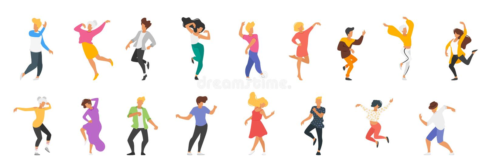 Dancing people silhouette royalty free illustration