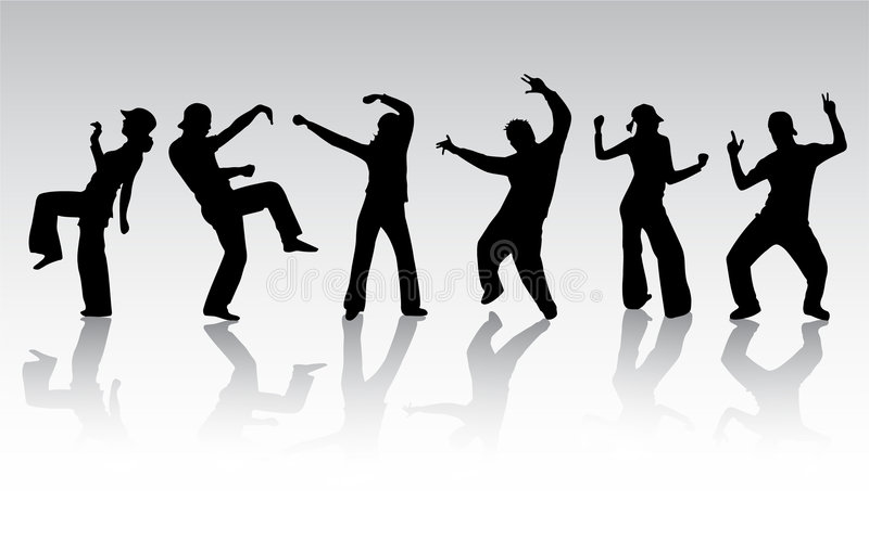 Download Dancing people silhouettes stock vector. Image of boys - 2362401