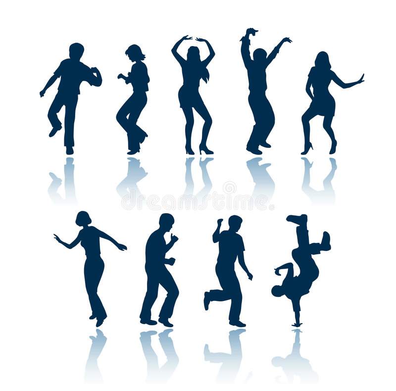 Dancing people silhouettes royalty free illustration