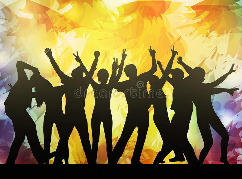 Dancing people silhouettes vector illustration