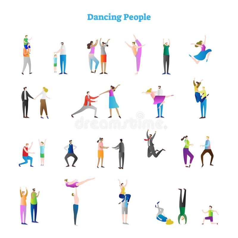 Dancing people vector illustrations collection. Various groovy dance moves, fun party crowd. Festive event kids and adults. stock illustration