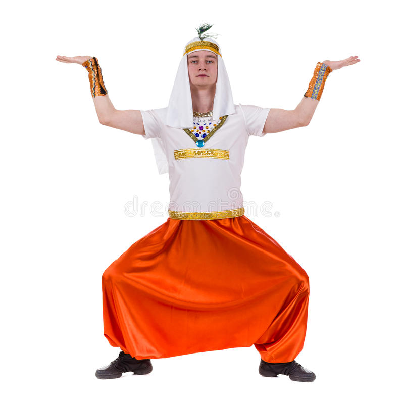 Dancing pharaoh wearing a egyptian costume stock images