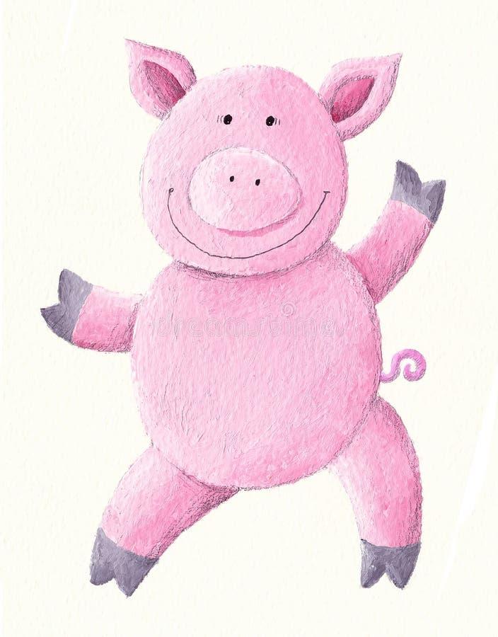 Free Dancing Pink Pig Royalty Free Stock Image - 12618656