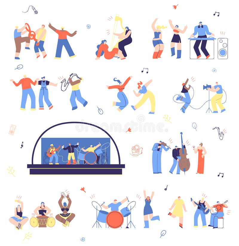 Musicians and Music Fans Vector Illustration Set royalty free illustration