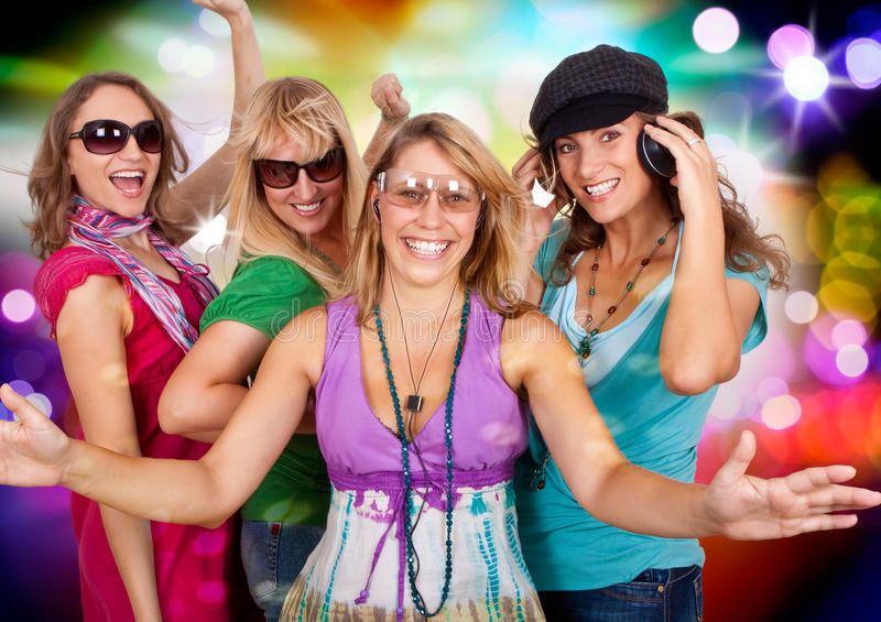 Dancing queens 3. Three beautiful girls making party royalty free stock images