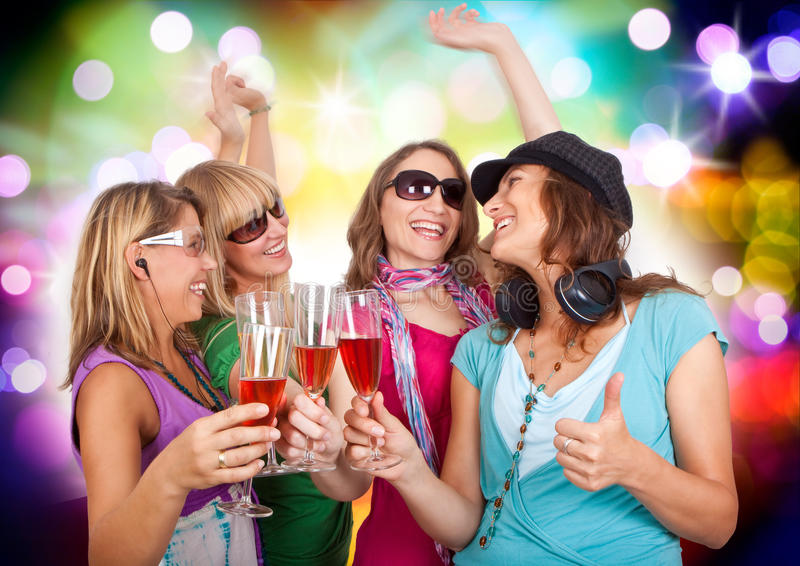 Dancing queens 5. Three beautiful girls making party stock photos