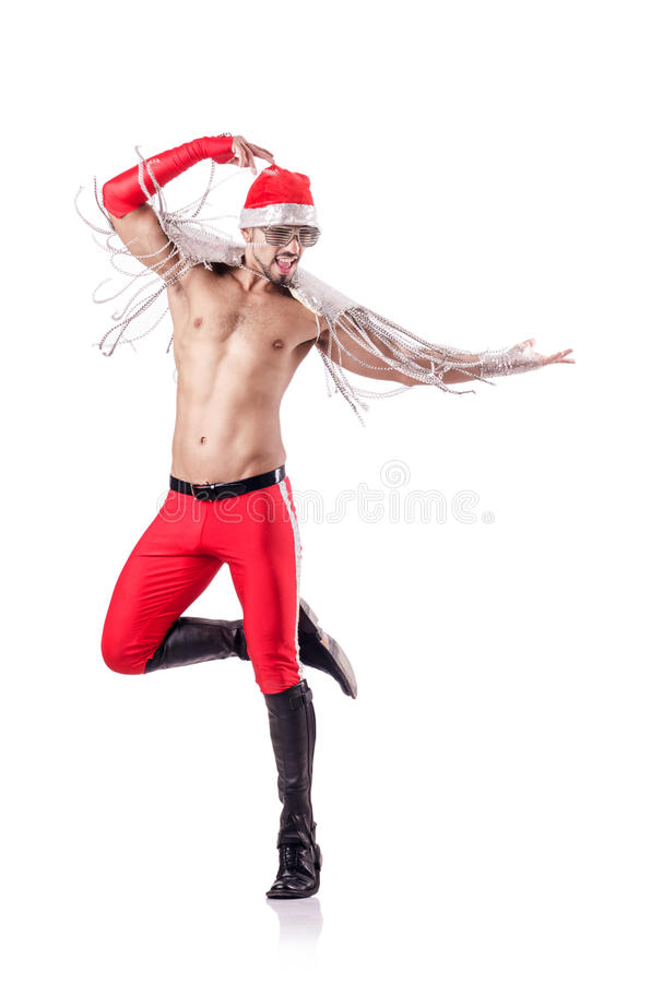 Dancing Santa Isolated Stock Photo