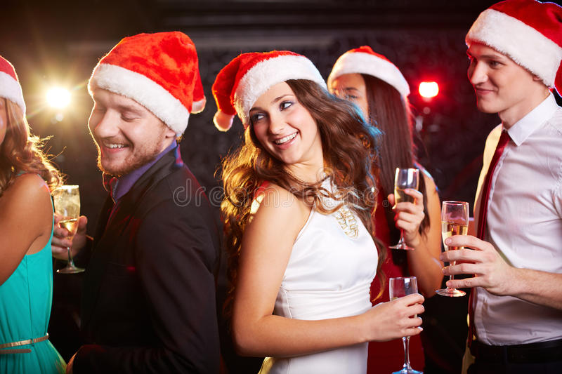 Dancing Santas stock photos