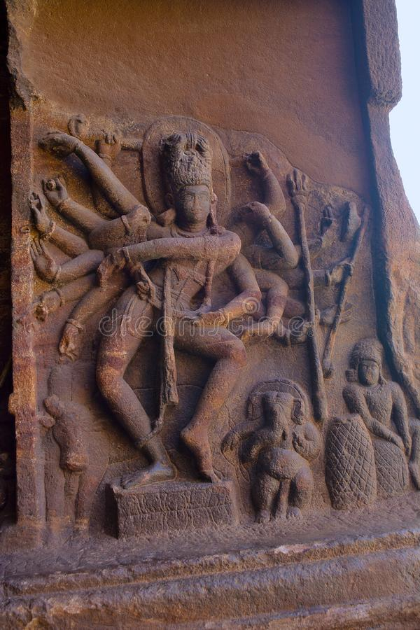 Dancing Shiva in cave temple 1, Nataraja. Bellary, Karnataka. India royalty free stock photo