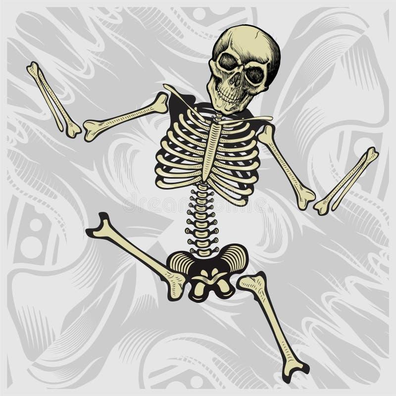 Dancing skeleton.hand drawing vector detailed vector illustration