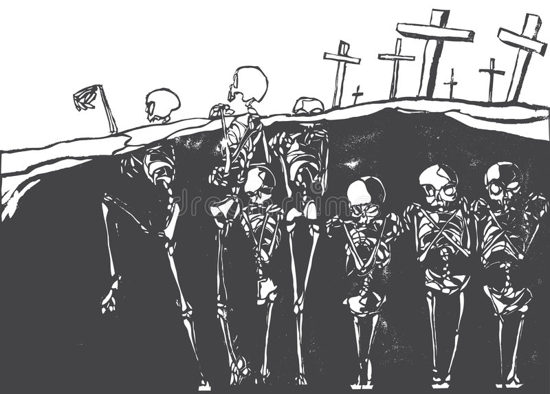 Dancing Skeletons. A cemetery in which the skeletons are coming alive vector illustration