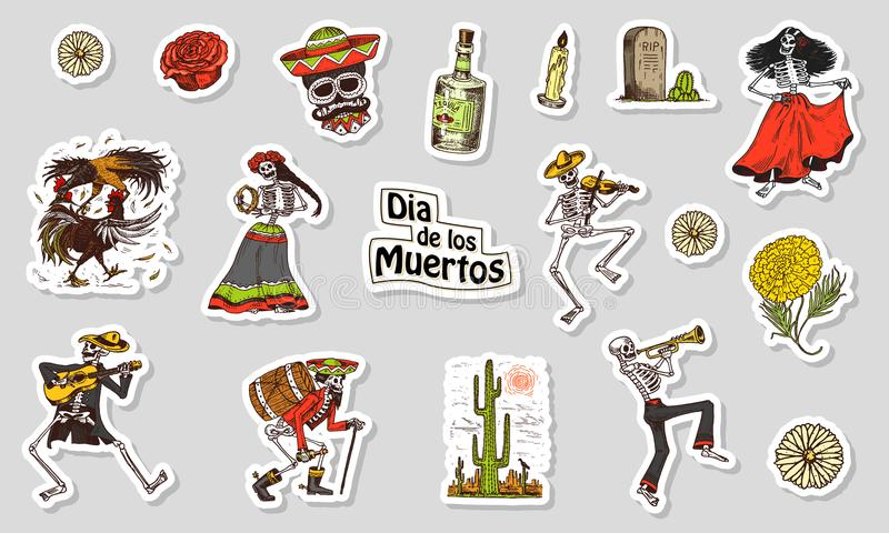 Dancing Skeletons. Day of the dead stickers. Mexican national holiday. Original inscription in Spanish Dia de los royalty free illustration