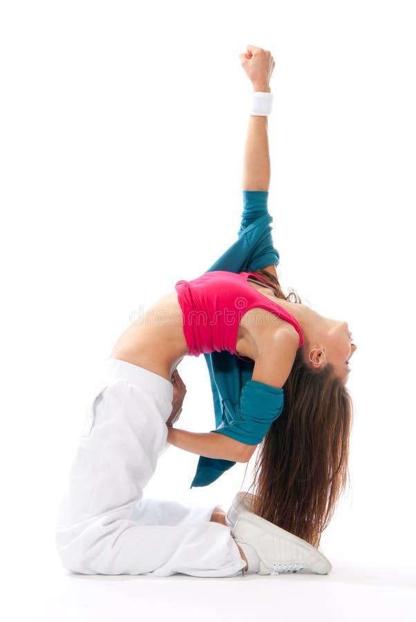 Dancing sottile moderno del danzatore della donna di stile fotografia stock libera da diritti