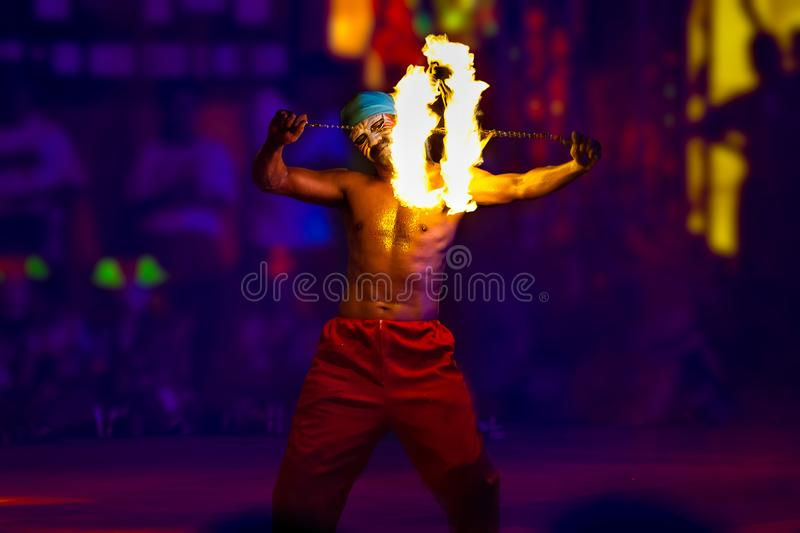 DANCING WITH SPINNING FIRE SHOW stock photo