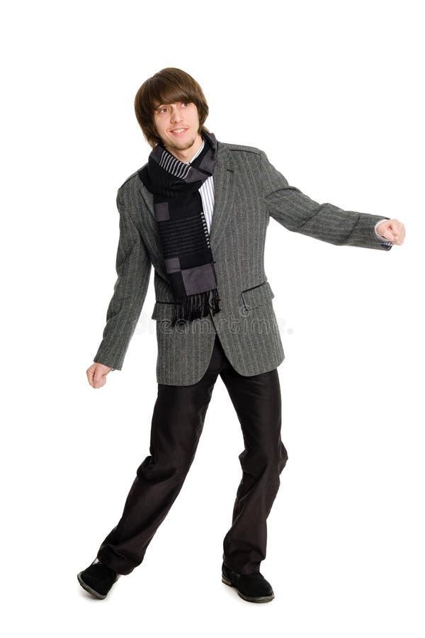 Dancing stylish young man royalty free stock image