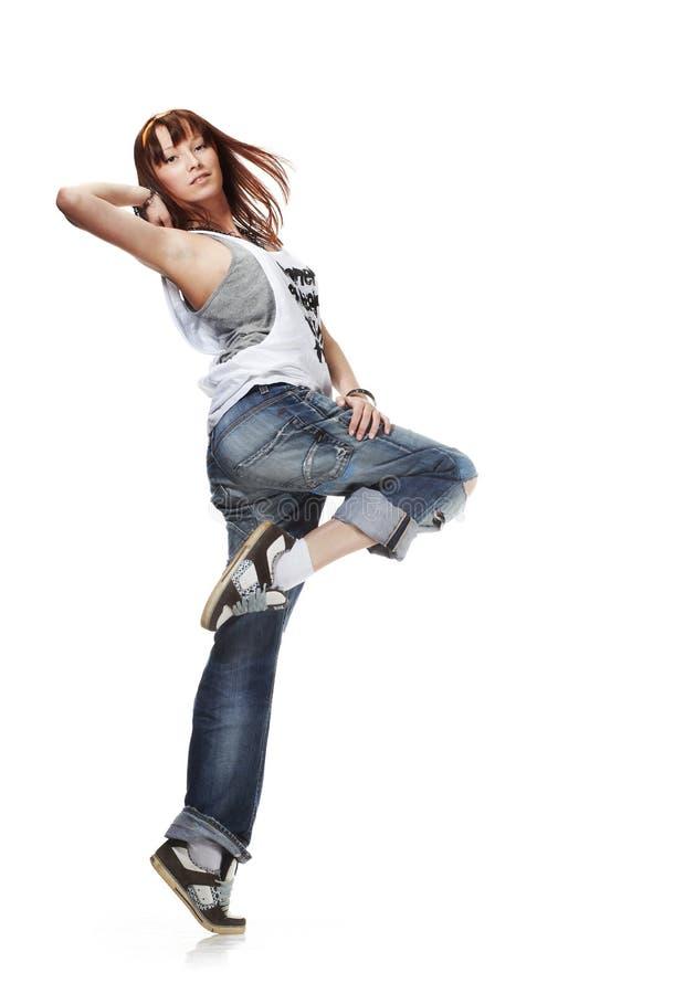 Dancing sveglio della giovane donna fotografie stock