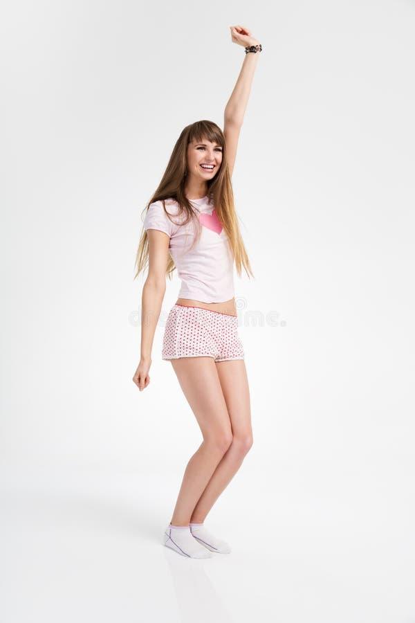 Dancing teenager felice della ragazza fotografia stock libera da diritti
