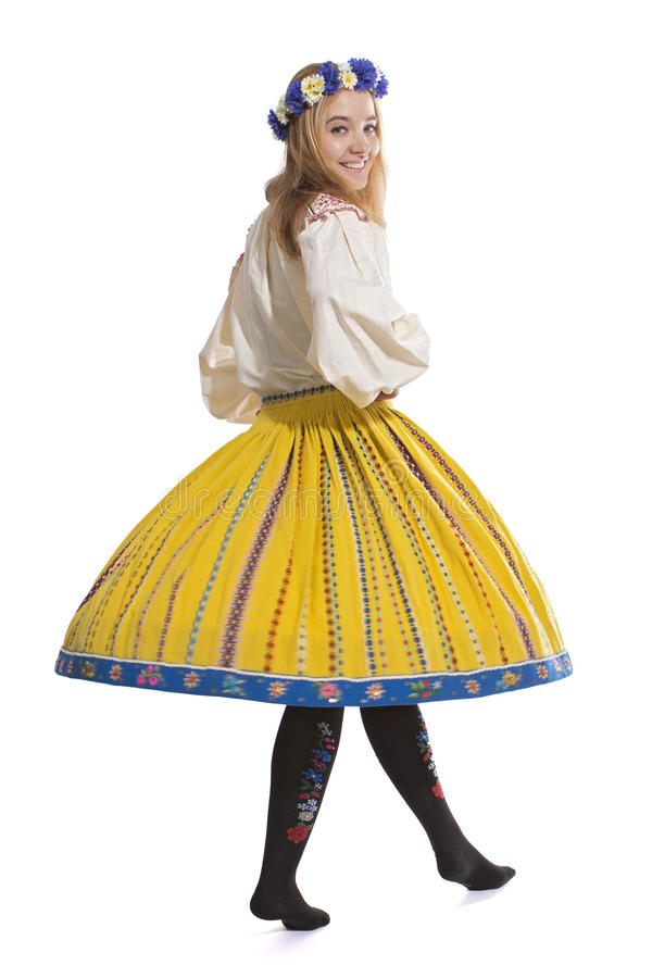 Dancing in traditional Estonian clothing stock images