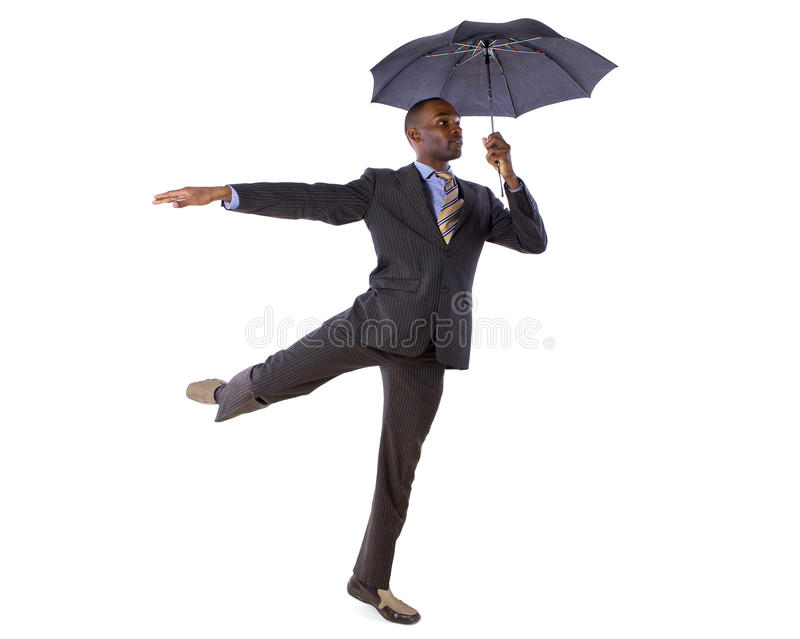 Dancing with an Umbrella stock images