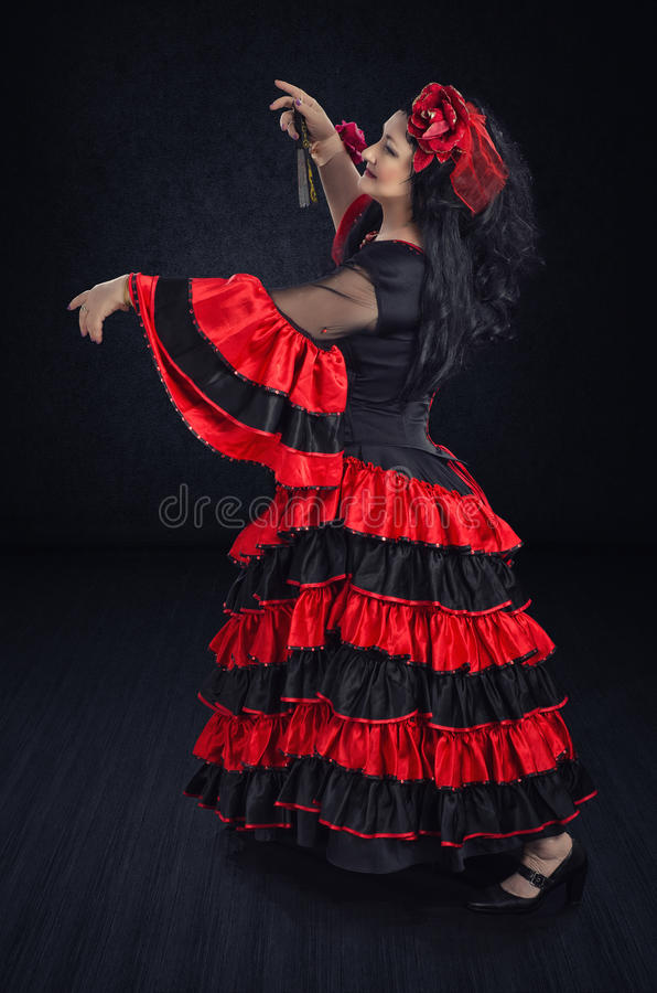 Download Dancing A Waltz In Flamenco Gown Stock Photo - Image: 77493052
