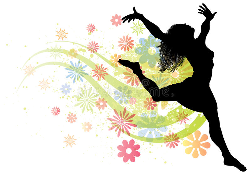 Download Dancing Woman stock vector. Image of flower, line, jumping - 19864938